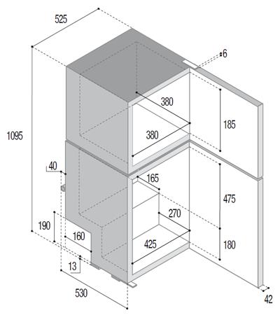 Kühlkombi-DP150i-abmessungen
