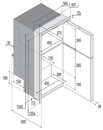 Edelstahlkühlkombi-DP2600iX_OCX2-abmessungen